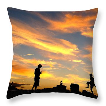 Camping In Neverland Throw Pillow