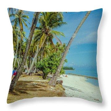 Camping In Tahiti Throw Pillow