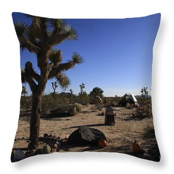 Camping In The Desert Throw Pillow