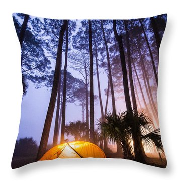 Camping On Hunting Island Throw Pillow by Serge Skiba