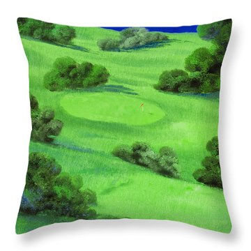 Campo Da Golf Di Notte Throw Pillow by Guido Borelli