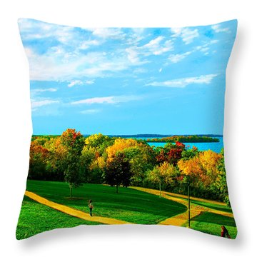 Throw Pillow featuring the photograph Campus Fall Colors by Zafer Gurel