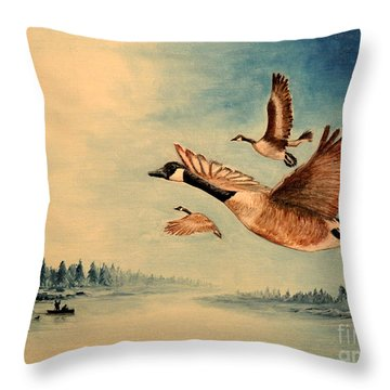 Canada Geese Throw Pillow by Bill Holkham