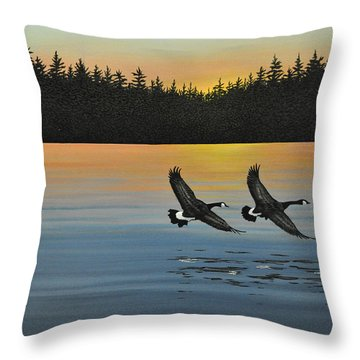 Canada Geese Throw Pillow by Kenneth M  Kirsch