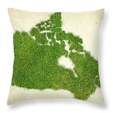 Canada Grass Map Throw Pillow