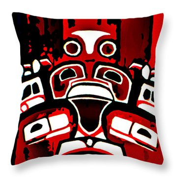 Canada - Inuit Village Totem Throw Pillow