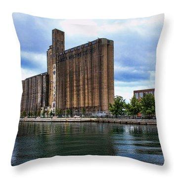 Canada Malting Silos Throw Pillow by Nicky Jameson