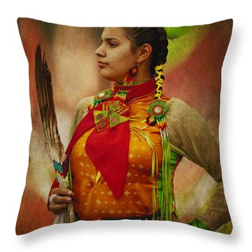 Canadian Aboriginal Woman Throw Pillow