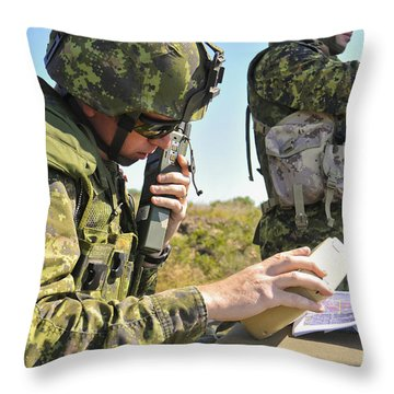Canadian Army Captain Radios A Close Throw Pillow by Stocktrek Images