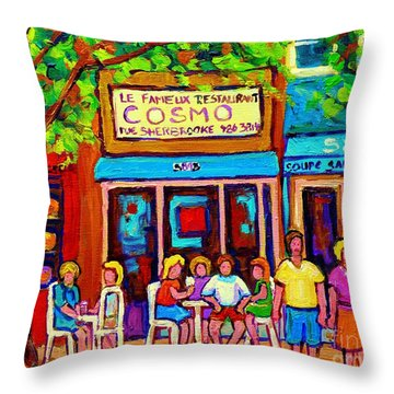 Canadian Artists Montreal Paintings Cosmos Restaurant Sherbrooke Street West Sidewalk Cafe Scene Throw Pillow by Carole Spandau