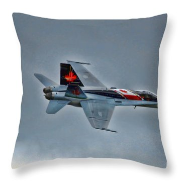 Canadian Cf18 Hornet Fly By Throw Pillow by Cathy  Beharriell