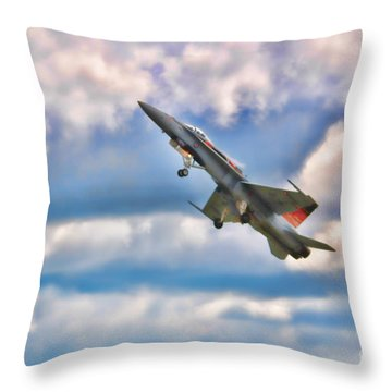 Canadian Cf18 Hornet Taking Flight  Throw Pillow by Cathy  Beharriell