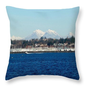 Canadian Coastal Range From Bellingham Throw Pillow by Karen Molenaar Terrell