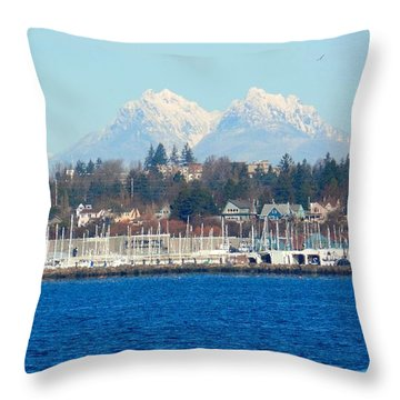 Canadian Coastal Range Over Bellingham Bay Throw Pillow by Karen Molenaar Terrell