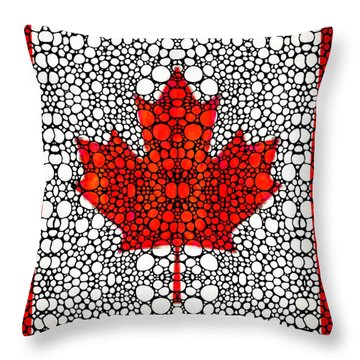 Canadian Flag - Canada Stone Rock'd Art By Sharon Cummings Throw Pillow by Sharon Cummings
