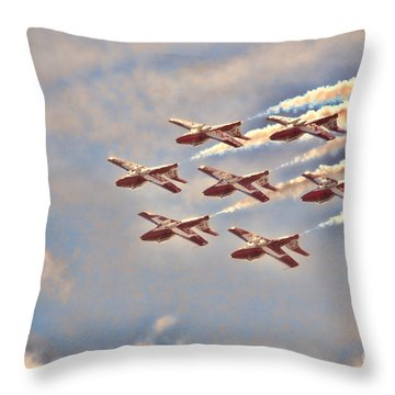 Canadian Forces Snowbirds 2013 Upside Down Formation Throw Pillow by Cathy  Beharriell