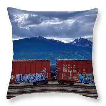 Canadian Freight Train In Jasper Throw Pillow by Stuart Litoff