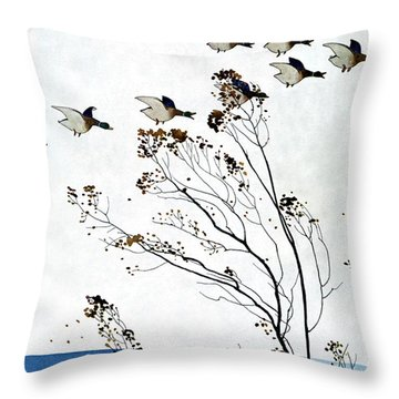 Canadian Geese Over Brown-leafed Trees Throw Pillow