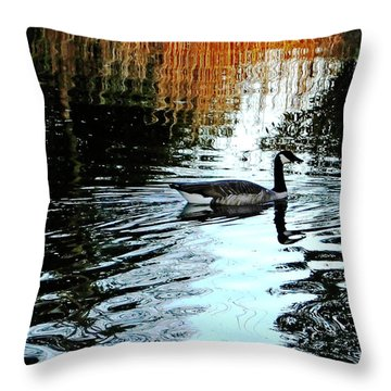 Canadian Goose At Burden  Throw Pillow