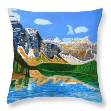 Canadian Mountains And Lake  Throw Pillow