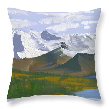 Throw Pillow featuring the digital art Canadian Rockies by Terry Frederick