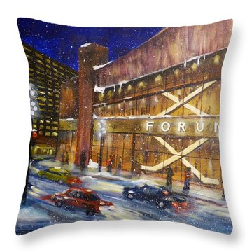 Canadiens Hockey At Montreal Forum Throw Pillow by Brent Arlitt