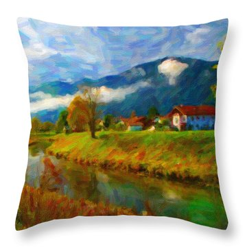 Canal 1 Throw Pillow by Chuck Mountain
