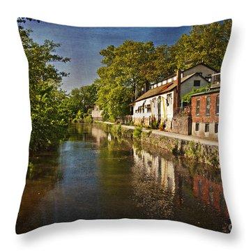 Canal Along The Porkyard Throw Pillow