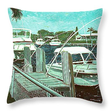 Canal At Pompano Throw Pillow