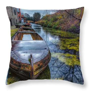 Canal Boat Throw Pillow by Adrian Evans