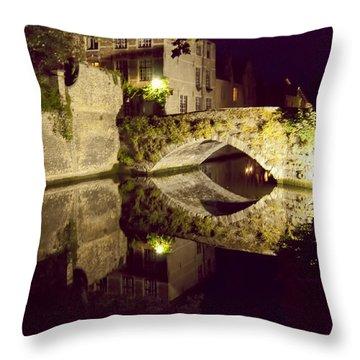 Canal Bridge Reflection Throw Pillow