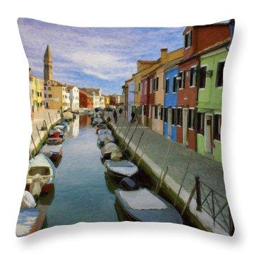 Canal Burano  Venice Italy  Throw Pillow