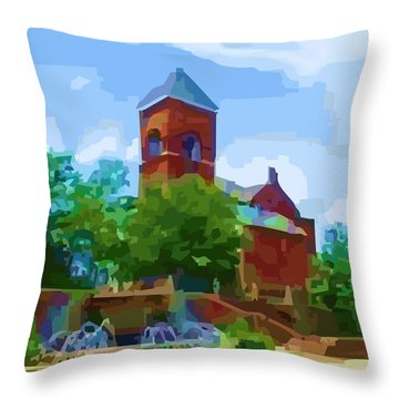 Canal Church Throw Pillow by P Dwain Morris