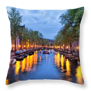 Canal In Amsterdam At Dusk Throw Pillow