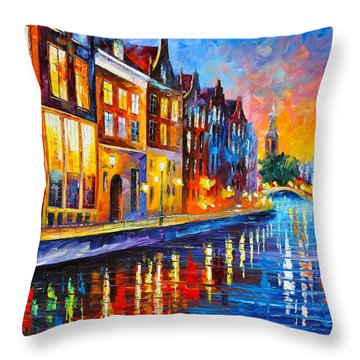 Canal In Amsterdam Throw Pillow by Leonid Afremov