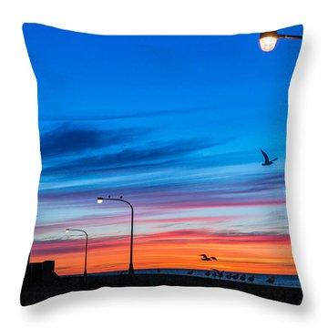 Canal Park Sunrise Throw Pillow by Mark Goodman