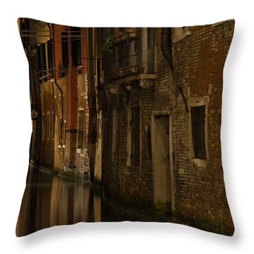 Canal Reflections Throw Pillow by Marion Galt