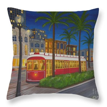 Canal Street Car Line Throw Pillow