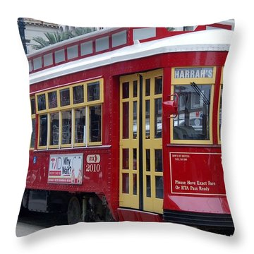 Canal Streetcar Nola Throw Pillow