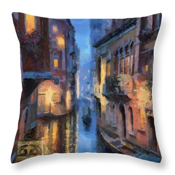 Canale Venice Throw Pillow by Georgi Dimitrov