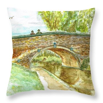 Throw Pillow featuring the painting Canal-bridal Path In Staffordshire  by Teresa White