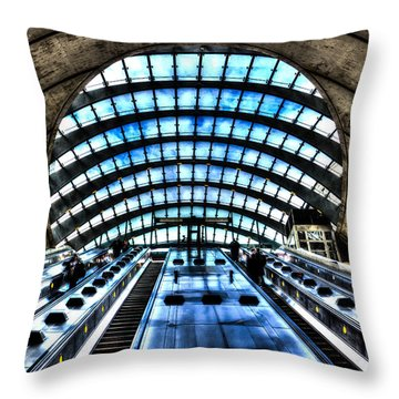 Canary Wharf Station Throw Pillow by David Pyatt