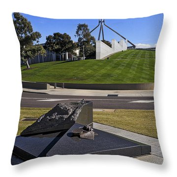 Canberra - Memorial And Parliament House Throw Pillow