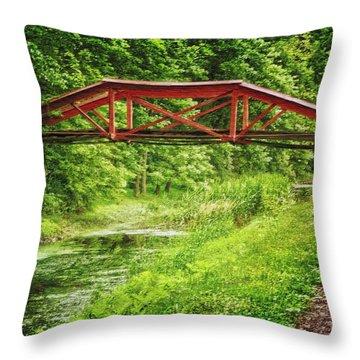 Canal Bridge Throw Pillow
