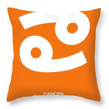 Cancer Zodiac Sign White On Orange Throw Pillow