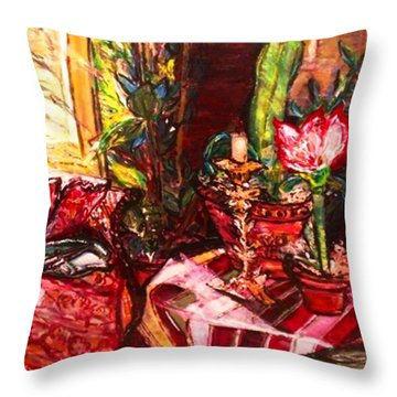 Throw Pillow featuring the painting Candela by Helena Bebirian
