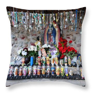 Candels And Rosaries Throw Pillow by Carla P White