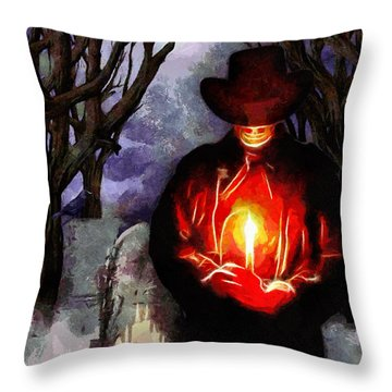 Candle Light At The Graveyard Throw Pillow by Tyler Robbins