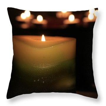 Throw Pillow featuring the photograph Candle Light by Susan Leonard