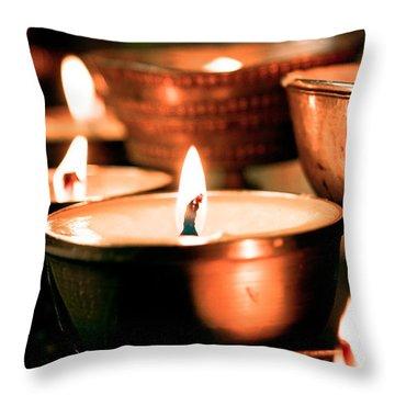 candle light ZUTHRUL PHUG MONASTERY Milarepas Cave Throw Pillow